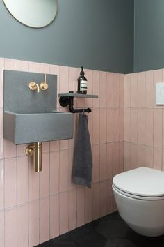 Small Downstairs Toilet, Small Toilet Room, Downstairs Cloakroom, Small Bathroom, Small Toilet Decor, Blush Bathroom, Pink Bathroom Tiles, Cloakroom Basin, Guest Toilet