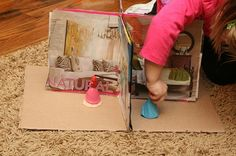 We use to make barbie houses like this using record albums!