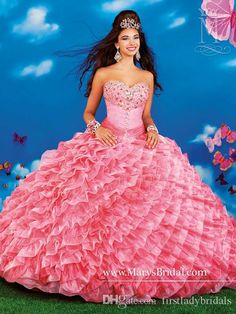 Dress 15 Birthday Coral Organza Ball Gowns Quinceanera Dresses With Jacket Sweetheart Neck Beaded Crystals Sweet Girls Prom Party Gown