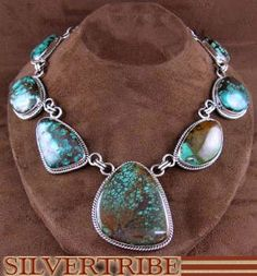 Native American Navajo Indian Turquoise And Genuine Sterling Silver Link Necklace RS53633