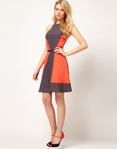 Oasis Cutaway Color Block Dress