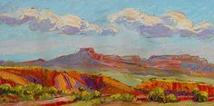 """Floating Clouds Over Pedernal, 18x36 by Michelle Chrisman Oil ~ 18"""" x 36"""""""