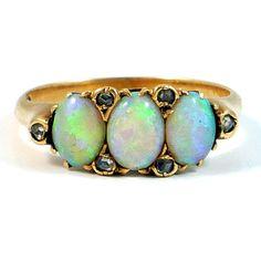 Victorian Fire Jelly Opal Diamond Ring c. 1880