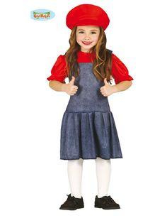 El disfraz de maquinista mario bross niña, incluye Gorro y vestido. en DisfracesMimo.com