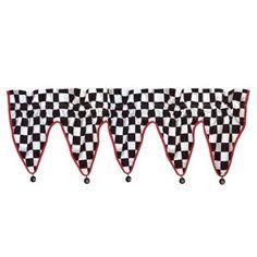 Checkered Flag CAR Racing WINDOW VALANCE curtain treatment decor checkerboard