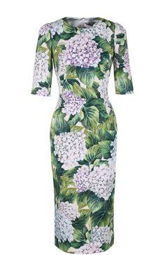 Женское зеленое шелковое приталенное платье с цветочным принтом DOLCE & GABBANA — купить за 113500 руб. в интернет-магазине ЦУМ, арт. 0102/F62X5T/GDF96