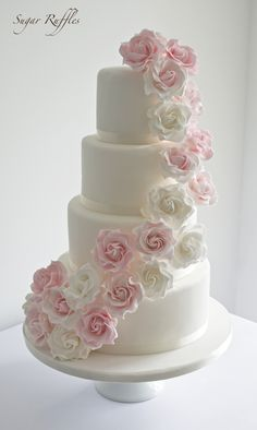 Sugar Ruffles, Elegant Wedding Cakes. Barrow in Furness and the Lake District, Cumbria: Pink rose cascade wedding cake