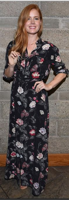 Who made  Amy Adams' floral print maxi dress?