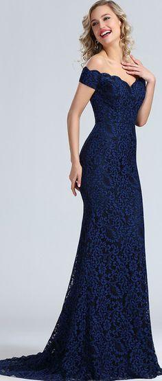 eDressit Blue Off Shoulder Lace Prom Dress