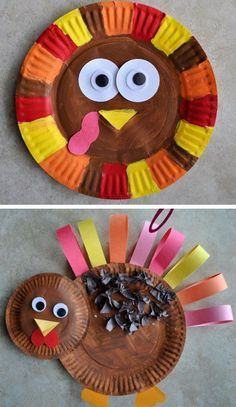 Paper Plate Turkey   Click for 30 DIY Thanksgiving Crafts for Kids to Make   Easy Thanksgiving Crafts for Toddlers to Make