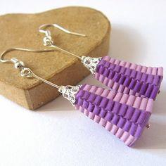 Purple Paper Earrings - Aretes violeta de papel