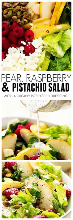 This Pear, Raspberry, and Pistachio salad has so many yummy flavors with the pear and raspberries but the pistachios give it an AWESOME flavor and crunch throughout!