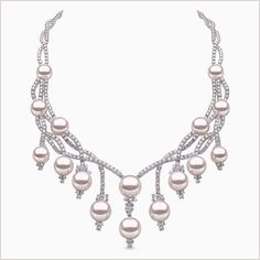 Yoko London White Gold necklace with South Sea pearls and diamonds from our High Jewellery Collection. High Jewelry, Pearl Jewelry, Body Jewelry, Beaded Jewelry, Jewelry Necklaces, Jewellery, Pearl And Diamond Necklace, Gold Necklace, Jewelry Drawing