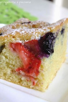 placek z owocami,ciasto z truskawkami,placek z truskawkami Polish Recipes, Polish Food, Strawberry Cakes, How To Make Cake, Blueberry, Sweet Tooth, Cheesecake, Good Food, Food And Drink