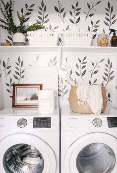 We love this small closet laundry room! Who says a small laundry room can't make a statement? The black & white wall decals tie the space together. Small Laundry Room - Home Decor - Farmhouse Laundry Room - Wall Paper Laundry Room Small Room Design, Laundry Room Design, Laundry Room Organization, Laundry Decor, Laundry Room Decals, Laundry Room Colors, Small Laundry Closet, Laundry Closet Makeover, Laundry Room Wallpaper