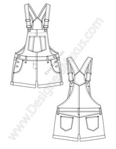 V95 Overalls Fashion Vector Flat Sketch - Free download in Adobe Illustrator or…