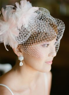 Just a hint of pink in this beautiful bride's birdcage veil ~ Photography by stephenpappasphoto.com