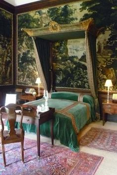 Gorgeous wallpaper on this palatial bedroom