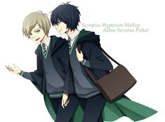 Harry Potter - Albus Severus Potter x Scorpius Malfoy - Scorbus Harry Potter Anime, Harry Potter Cursed Child, Art Harry Potter, Harry Potter Universal, Harry Potter Memes, Albus Severus Potter, Scorpius And Albus, Scorpius And Rose, Scorpius Malfoy