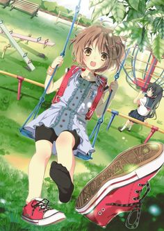 ❤٩(๑•◡-๑)۶❤.                                                   anime girl on swing with a flying shoe!!! shoe ..what!!??!XDDDD