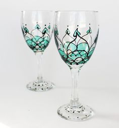 Painted Wine Glasses Black and Green by BlueDotBoutique on Etsy, $32.00