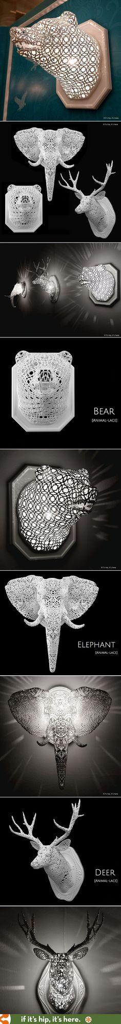 Animais de parede impressos em 3D com efeito vazado de renda. Eles acendem por dentro e criam um efeito incrível na decoração.