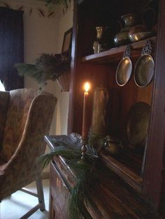 Primitive Colonial Style ~ love the pewter