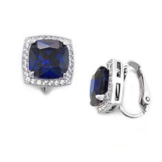 Rhodium Plated Halo Cushion Cut Blue CZ Non Pierced Clip On Earrings ** Click on the image for additional details.