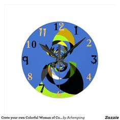 Crete your own Colorful #Woman of #Colors #Round #Clock