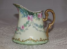 Vintage Hand Painted Porcelain Creamer Pitcher by T&V Tressemanes Vogt, Limoges France, 1896,  pink roses, green gold trim by PuppyLuckArt on Etsy https://www.etsy.com/listing/475824752/vintage-hand-painted-porcelain-creamer