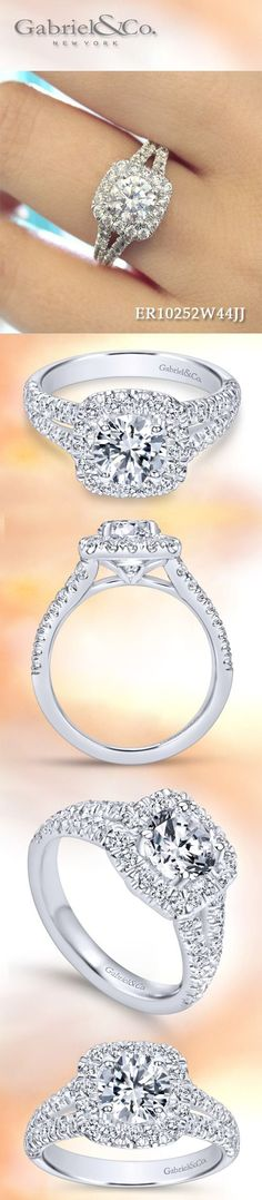 Gabriel & Co.-Voted #1 Most Preferred Fine Jewelry and Bridal Brand. Meet James - 14k Delightful diamond rows split toward the lavish halo in this white gold engagement ring.