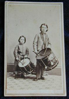 CDV of Civil War Era Drummer Boy Brothers. My gggrandfather was a drummer boy in the Civil War. Old Photos, Vintage Photos, Antique Photos, Vintage Art, American Civil War, American History, Fife And Drum, War Drums, Drummer Boy