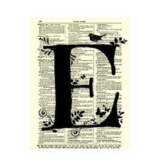 Letter E Modern Monogram on an Antique Dictionary Page Art Print, Monogram Wall Decor, Mixed Media Collage Fancy Letters, Letters And Numbers, Friends Of The Library, Craft Tutorials, Craft Ideas, Monogram Wall, Great Wedding Gifts, Mixed Media Collage, Paper Crafts