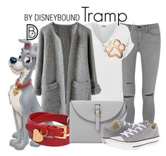 """Tramp"" by leslieakay ❤ liked on Polyvore featuring Frame Denim, WearAll, Valentino, Meli Melo, Converse, Bling Jewelry, disney, disneybound and disneycharacter"