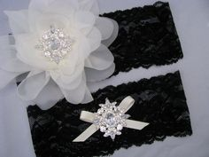 Black Lace Crystal Bridal Garter Set Ivory And Flower Keepsake Toss Garters Wedding Heirloom Bride