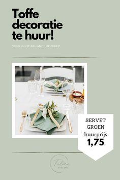 Katoenen servet in olijfgroen. Te huur voor jouw bruiloft of feest. Klik op de afbeelding voor meer informatie.