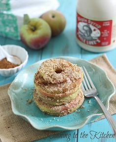 Baked almond apple crisp rings are the perfect healthy fall dessert. Like apple crisp in ring form. Scoop some vanilla ice cream on top or just a drizzle of maple syrup.