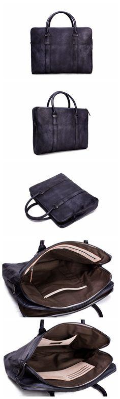 Vintage Vegetable Tanned Men Leather Briefcase, Messenger Bag, Laptop Bag