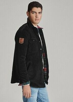 """Leather """"Ralph Lauren Polo"""" skier patch at the right sleeve. """"Polo"""" label at the left chest pocket. Shirt Jacket, Bomber Jacket, Collar Styles, Work Shirts, Corduroy, Downhill Ski, Skiing, Polo Ralph Lauren, Mens Fashion"""