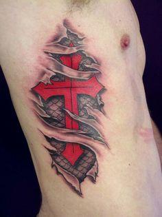 Templar Cross Under Skin Tattoo