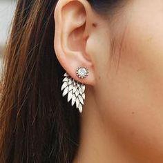 Angel Wings Rhinestone Stud Earrings