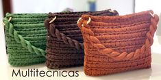 Crochet Clutch Bag With T-shirt Yarn – Crochet Ideas Crochet Clutch Bags, Free Crochet Bag, Crochet Handbags, Crochet Purses, Crochet Yarn, Crochet Bag Tutorials, Crochet Ideas, Tshirt Garn, Yarn Bag
