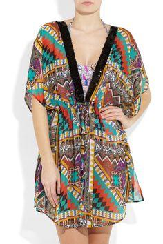 ETRO  Sequined printed silk-chiffon kaftan