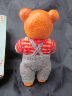 Vintage Walking Teddy Bear by Rosebud in oriiginal box Womans Weekly, Rose Buds, 1950s, Knitting Patterns, Dinosaur Stuffed Animal, Walking, Teddy Bear, Toys, Animals