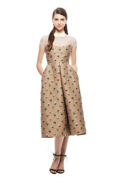 Dotted Floral Wool Organza Combo Bustier Dress
