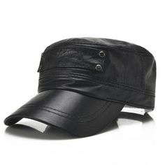 ea5222be Men Sheepskin Genuine Leather Flat Top Hats With Breathable Sweatband Baseball  Cap