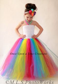 Rainbow Birthday Tutu Dress - Long Unicorn Halloween Costume - Kids Girls Size 3 6 Months 6 7 8 10 12 Candy Carnival Costume by OnceUponATimeTuTus on Etsy