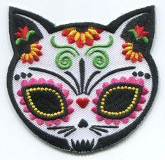 CAT SUGAR SKULL Gato Muerto IRON-ON PATCH day of the dead / dia de los muertos
