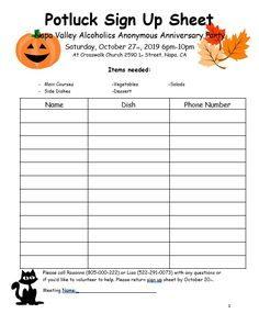 Halloween Potluck Sign Up Sheet Halloween Potluck Potluck Sign Up Sheets