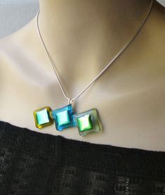 Original Fused Glass  Dichroic Necklace  FREE Domestic by Glassimo, $28.00